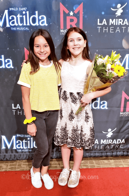 Melissa of Balancing The Chaos and Erin Tardibuono as Alice in Matilda the Musical at La Mirada Theater