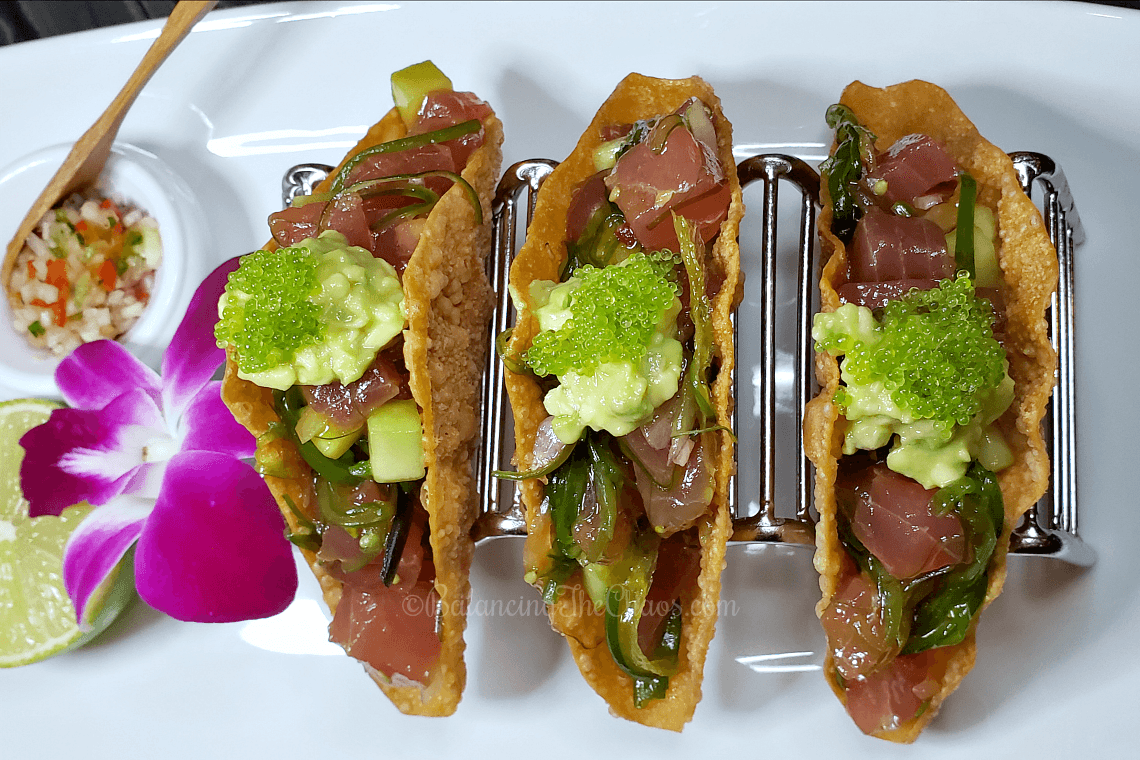 Poke Tacos from Umi Sushi & Oyster Bar at Pechanga Resort Casino