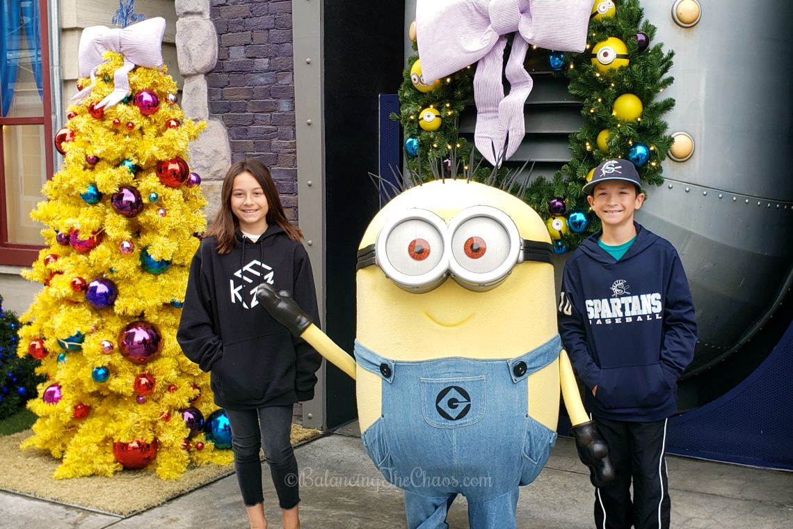 Holiday Photos with Minions Universal Studios Hollywood Christmas time
