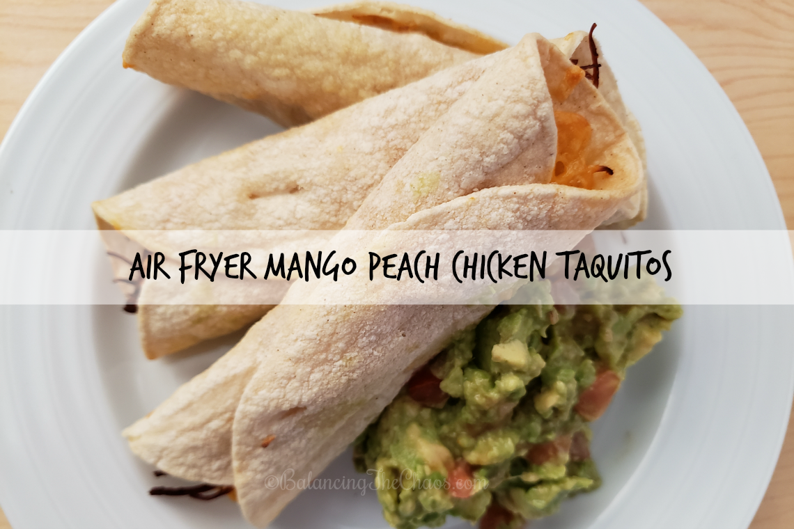Air Fryer Mango Peach Chicken Taquitos