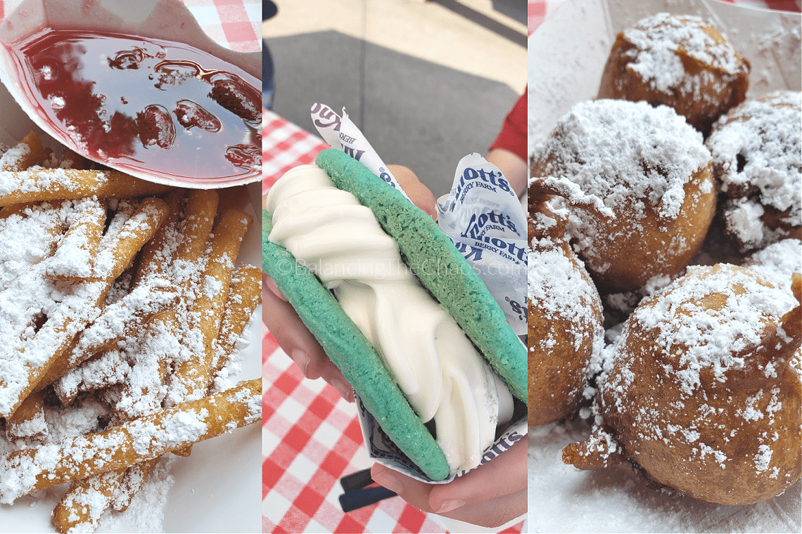 Sweet Treats at the Taste of Knott's Funnel Cake Fries with Strawberry Dipping Sauce Deep Fried Boysenberry Pie Bites Blue Velvet Lemon Cookiewich with Vanilla Soft Serve Ice Cream