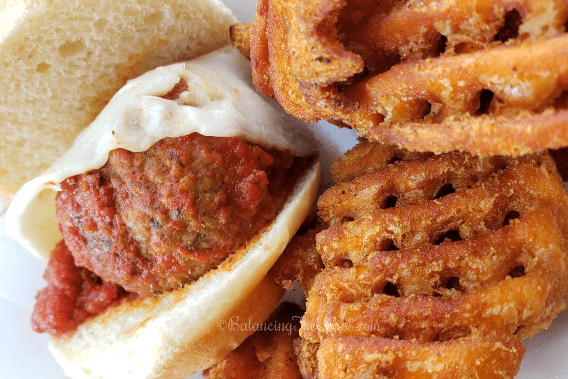 Headless Meatball Sandwich with Sweet Potato Chips