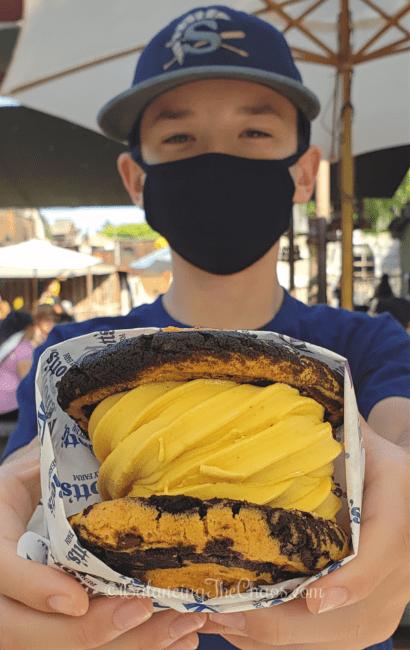 Orange Sugar and Chocolate Fudge Cookiewich with Pumpkin Soft Serve Ice Cream Taste of Fall-O-Ween