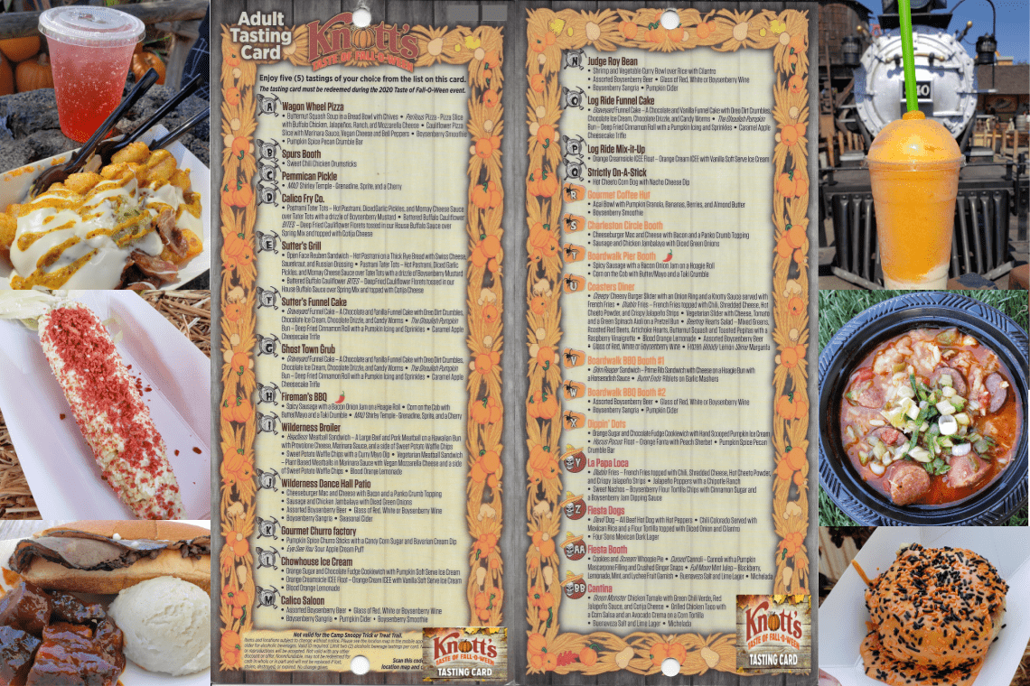 Knott's Taste of Fall-O-Ween Tasting Card and some of the menu items.