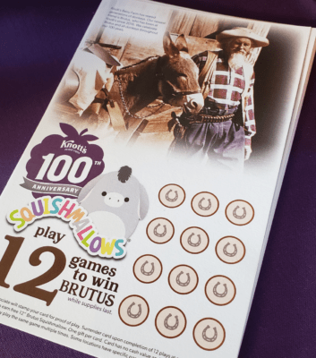 Game card to win Brutus at Knott's Berry Farm
