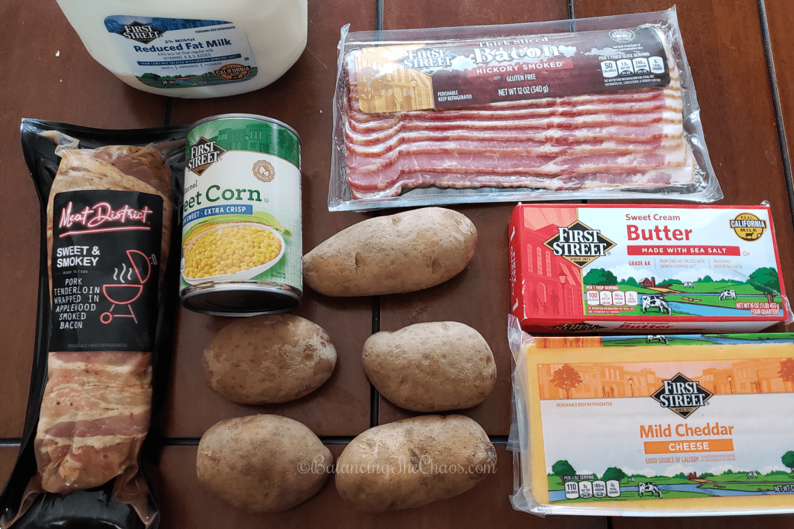 Ingredients for our family dinner, including our scalloped potatoes with bacon